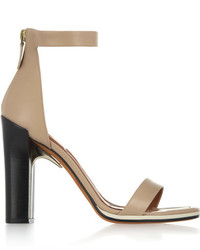 Givenchy Ruby Sandals With Gold Metal Details In Nude Leather With Contrasting Black Heels Neutral