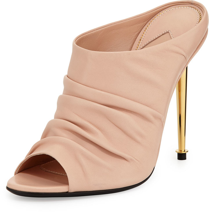 Tom Ford Ruched Leather High Heel Mule Nude | Where to buy & how ...