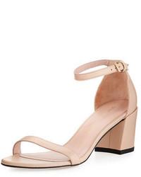 Stuart Weitzman Simple Napa Chunky Heel City Sandal