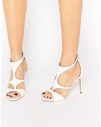 Ted Baker Shyea White Leather Caged Heeled Sandals
