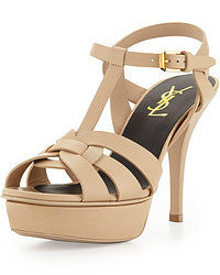 Saint Laurent Tribute Leather Mid Heel Platform Sandal Nude