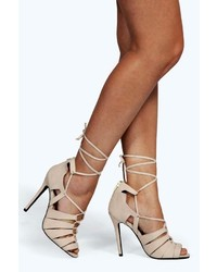 Boohoo Zoe Lace Up Caged Gladiator Heels