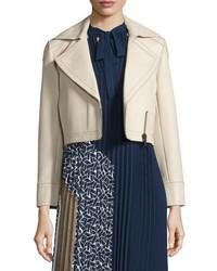 Diane von Furstenberg Valeria Leather Zip Trim Jacket Tan