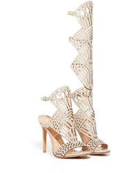 Beige Leather Knee High Gladiator Sandals