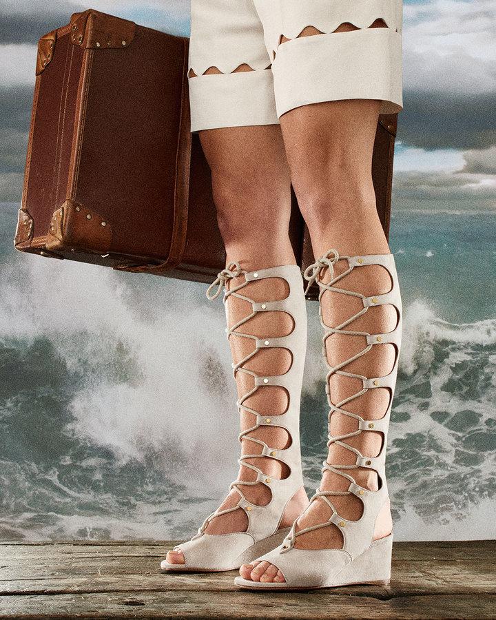 d90948434617 Chloé Chloe Suede Gladiator Tall Wedge Sandal Cream Puff