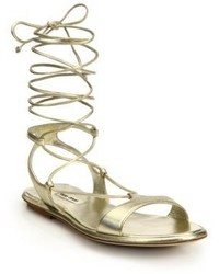Miu Miu Metallic Leather Flat Lace Up Gladiator Sandals