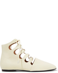 The Row Dimitri Lace Up Leather Ankle Boots Neutral
