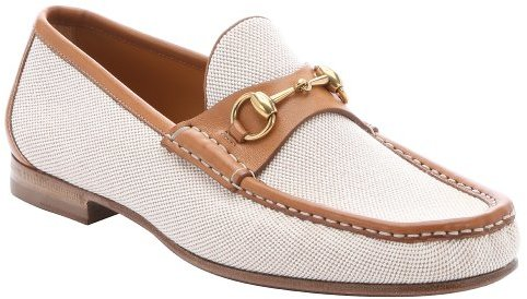 7191871e793 ... Gucci Beige Leather Trimmed Canvas Horsebit Detail Loafers