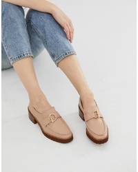 Eeight E8 By Miista Taupe Leather Stacked Heeled Chunky Loafers With Hardware Detail