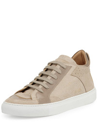 Beige Leather Low Top Sneakers