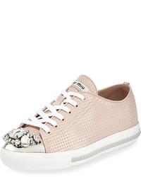 Miu Miu Allacciate Jewel Toe Perforated Low Top Sneaker Cipria