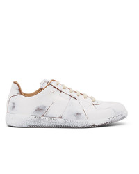 Maison Margiela Brown And White Paint Crack Replica Sneakers