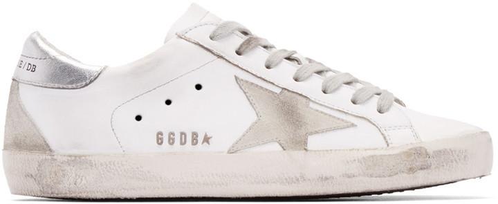 3b452878dda7 ... Golden Goose Deluxe Brand Golden Goose White Silver Superstar Sneakers  ...