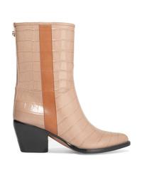 Chloé Vinny Croc Effect Leather Ankle Boots