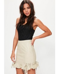 Cream faux leather frill mini skirt medium 3714101