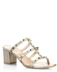 Valentino Garavani Rockstud Metallic Leather Block Heel Mules