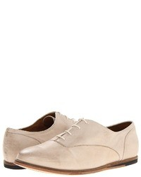 Beige Leather Oxford Shoes