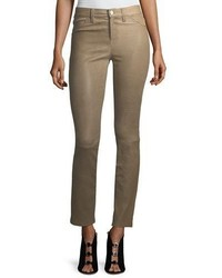 J Brand Maude Mid Rise Cigarette Lamb Leather Pants