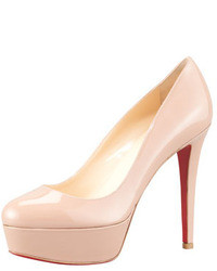 Bianca patent leather platform red sole pump nude medium 9477