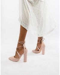 Glamorous Block Heel Tie Up Court