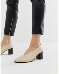Vagabond Eve Leather High Vamp Block Heeled Shoes