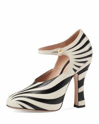 Gucci Lesley Zebra Inlay Mary Jane Pump Blackwhite
