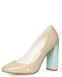 Dorothy Perkins Nude High Block Heel Court Shoes