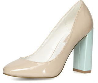 Dorothy Perkins Nude High Block Heel Court Shoes | Where to buy ...