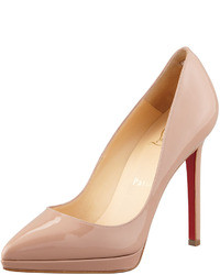 Christian Louboutin Pigalle Plato Patent Platform Red Sole Pump Nude