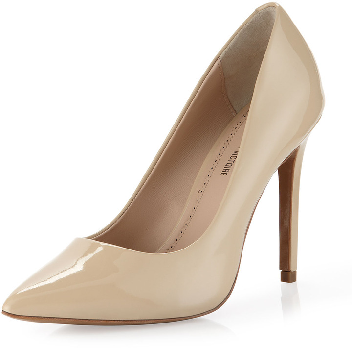 beige leather pumps pour la victoire eastona patent pointy toe pump beige where to buy how. Black Bedroom Furniture Sets. Home Design Ideas