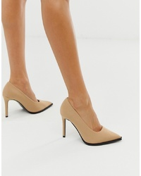 ASOS DESIGN Powerful High Heeled Court Shoes In Beige
