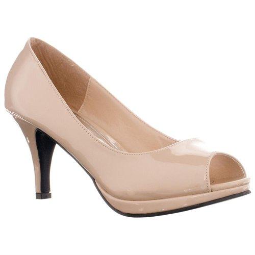 Nude Peep Toe Mid Heels | Tsaa Heel