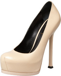 Saint Laurent Tribute Two Leather Pump Nude