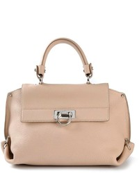 Beige Leather Satchel Bag