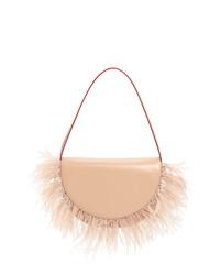 Staud Amal Feather Fringe Leather Shoulder Bag