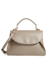 Izzy faux leather top handle satchel beige medium 6471569