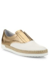 Tod's Leather Espadrille Slip On Sneakers