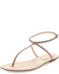 Beige Leather Thong Sandals