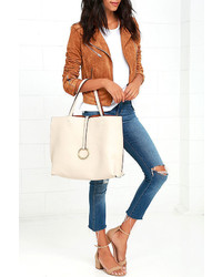 LuLu*s Flip The Script Brown And Cream Reversible Tote