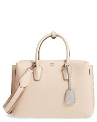 MCM Medium Milla Leather Tote Beige