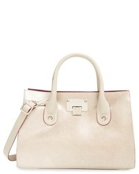 Jimmy Choo Medium Riley Leather Tote Beige