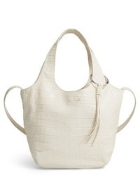 Elizabeth and James Small Finley Embossed Leather Shopper Beige