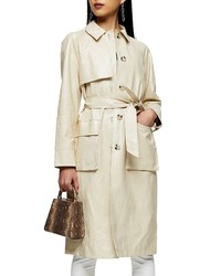 Topshop Faux Leather Trench Coat