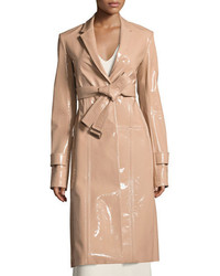 Patent leather belted trench coat beige medium 3662570