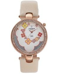 Akribos XXIV Fiora Diamond Leather Watch
