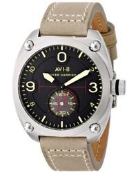 Avi 8 Av 4026 03 Hawker Harrier Ii Stainless Steel Watch With Beige Leather Band
