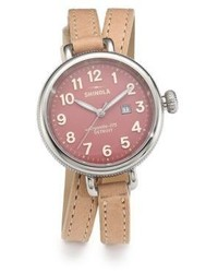 Shinola Birdy Stainless Steel Leather Double Wrap Watchwinter White