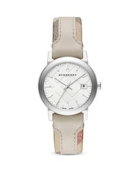 Burberry Haymarket Check Leather Strap Watch 34mm