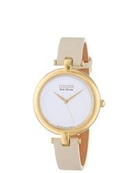 Citizen Em0252 06a Silhouette Eco Drive White Dial Beige Leather Strap Watch