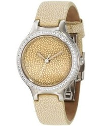 Croton Cn207078wswh Ballroom Crystal Accented Beige Stingray Dial Beige Stingray Leather Watch